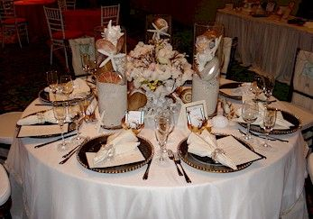 Beach Theme Wedding Reception Tables And Buffet Food