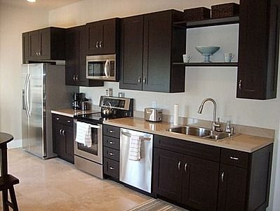 One wall kitchen garage apartment plan pinterest for Garage apartment plans with kitchen