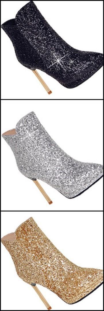 Shoespie Sequine Stiletto Heel Fashion Booties