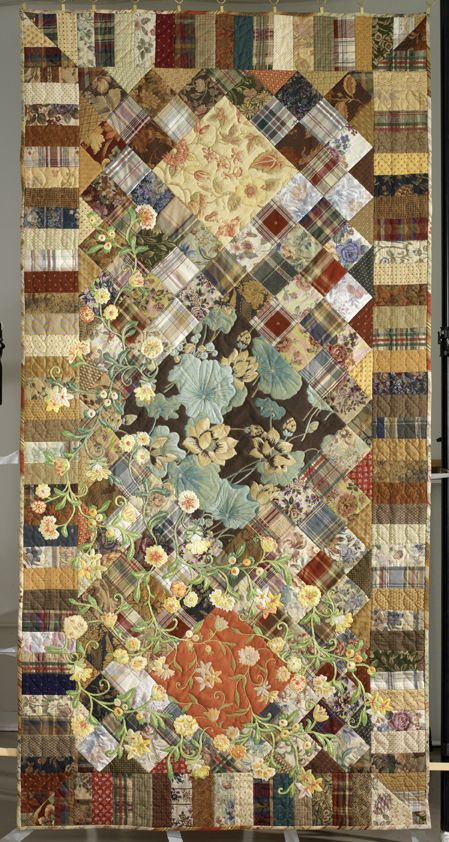 overgrown  Crewel and quilting by hand