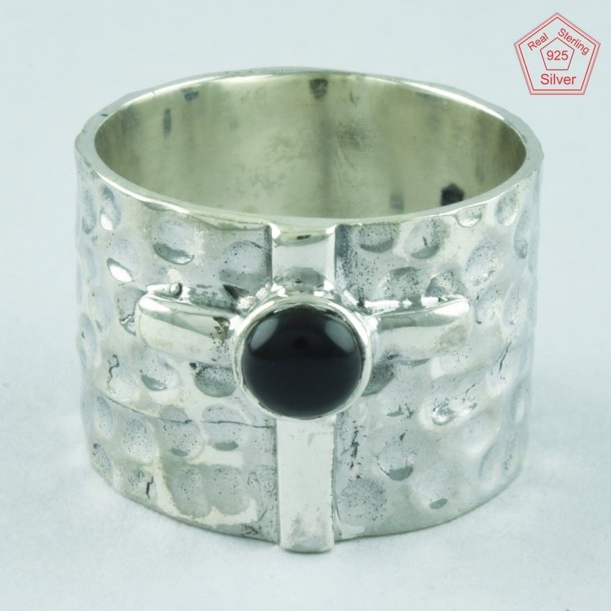 BLACK ONYX RING, 925 STERLING SILVER, BEAUTIFUL DESIGN RING R4991, SZ. 9.5 US #SilvexImagesIndiaPvtLtd #Statement #AllOccasion