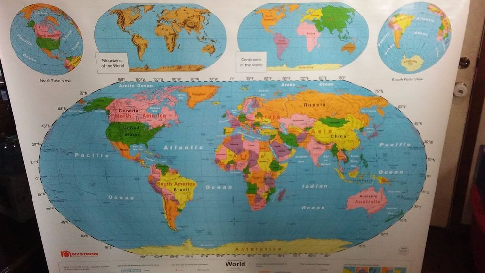 Nystrom world map old schoolroom pull down 2 in 1 map no 1ns991 nystrom world map old schoolroom pull down 2 in 1 map no gumiabroncs Images