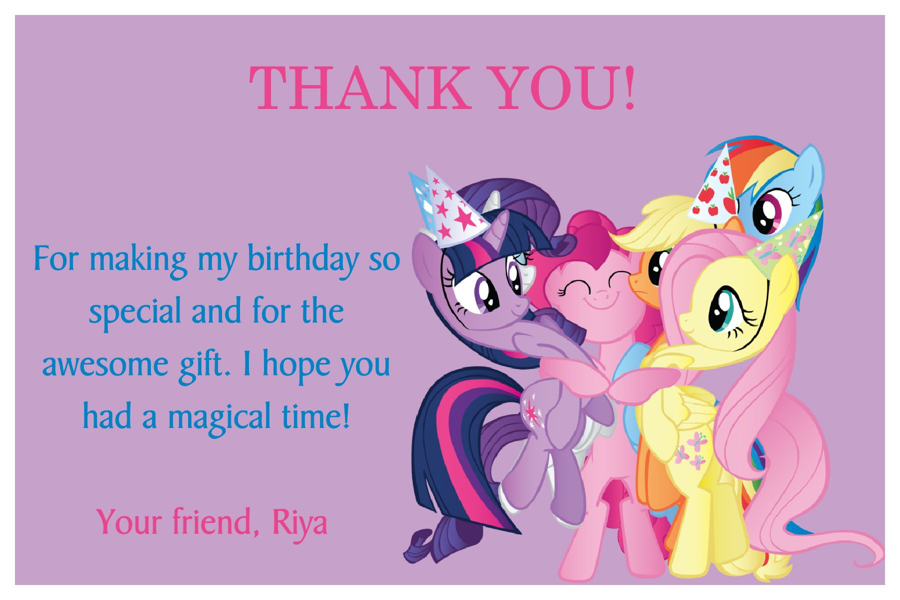 My Little Pony Thank You Card on the image twice to place