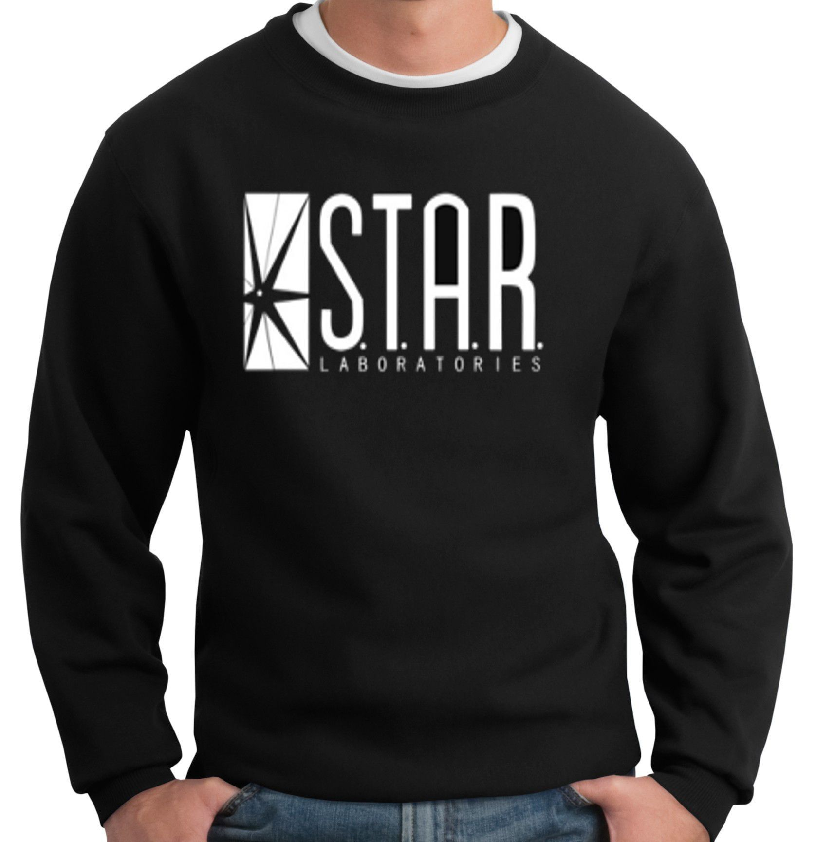 The Flash DC Barry Allen Laboratories Star Labs Black Sweatshirt ... 992f137f7c1ac