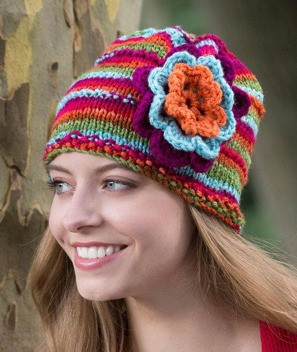 Beanie in Bloom Free Knitting Pattern in Red Heart Yarns | New, New ...