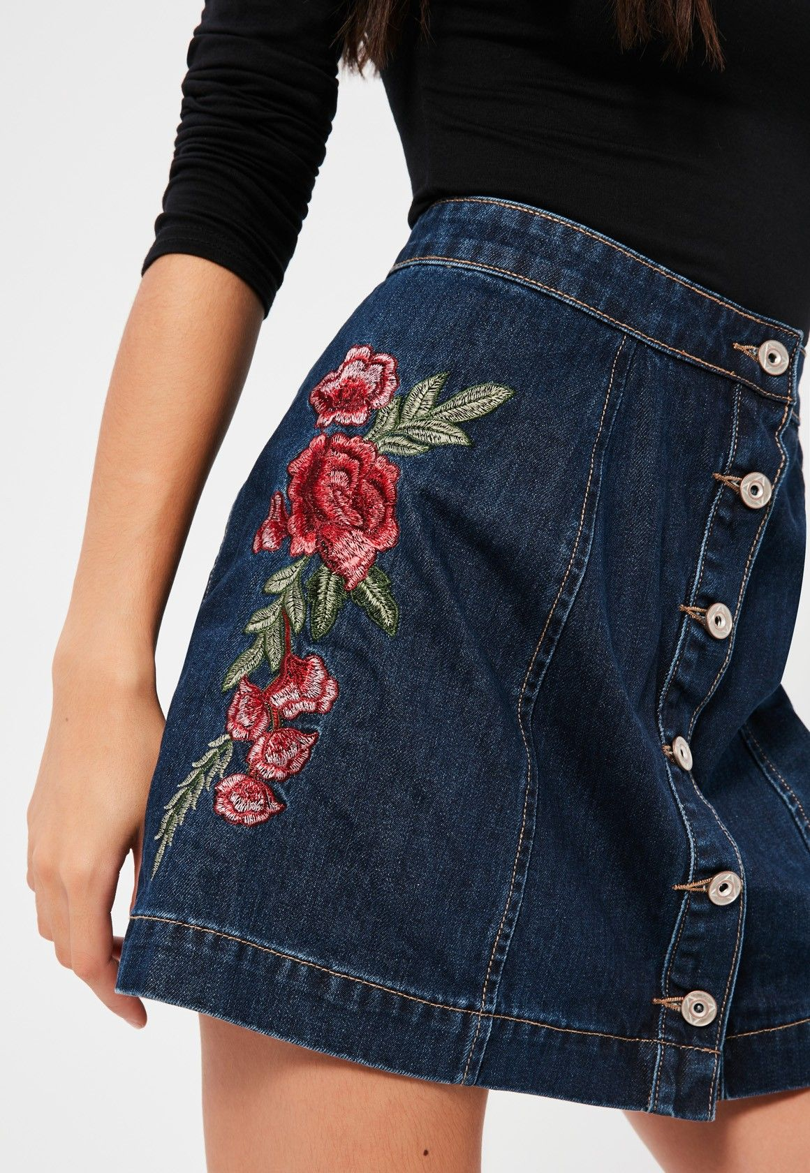 a2cce0a5bf Missguided - Blue A- Line Button Through Floral Embroidered Denim Skirt
