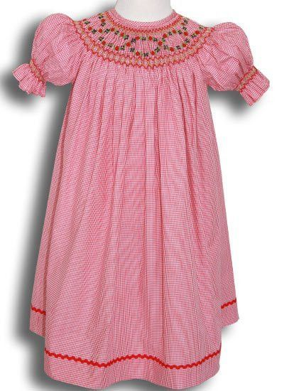 784a37596 Red Micro Gingham Smocked Girls Dress 2T for Christmas – Carousel Wear
