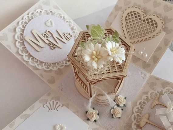 Romantic Gift Wedding Gift Wedding Exploding Gift Box Explosion Gift Box Gold and White Anniversary Gift Newly Wed Gift