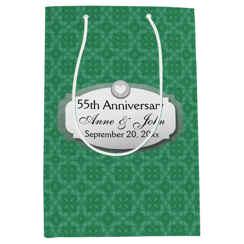 55th Anniversary Emerald Green Z28 Medium Gift Bag | Zazzle.com #20thanniversarywedding