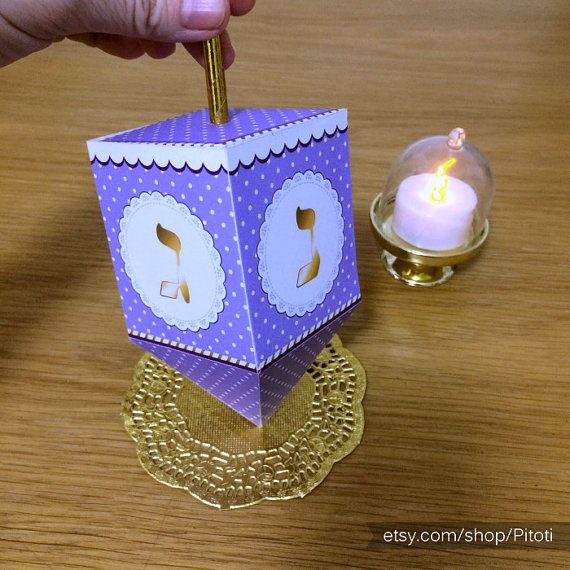 Hanukkah dreidel, printable dreidel template to create 3D paper ...