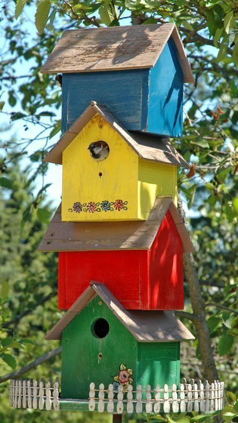 Bird house  birdhouse condo complex great idea for lots of birdhouses backyardbeekeeper also rh pinterest