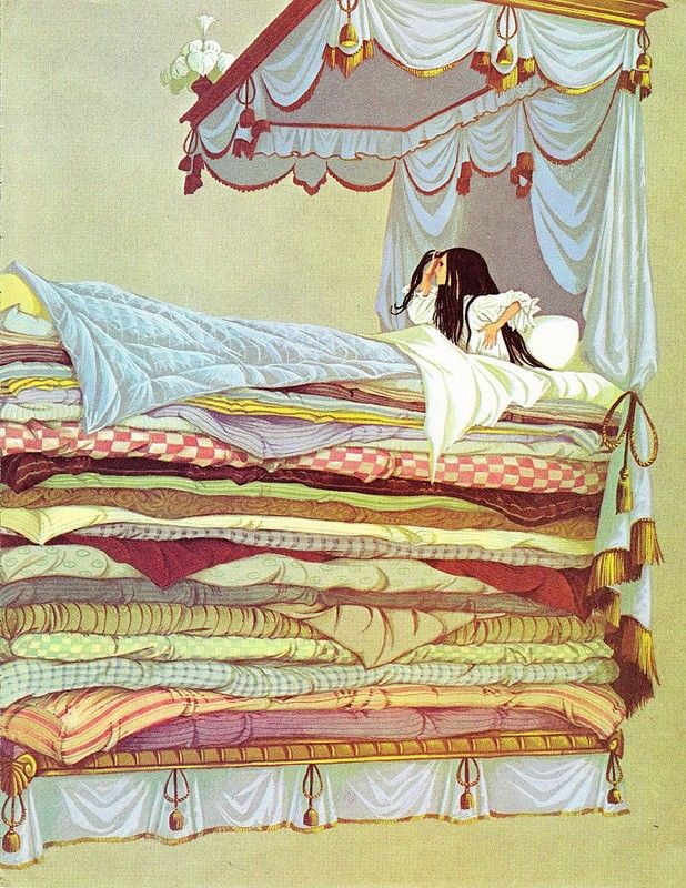 """Illustration by Janet and Anne Grahame Johnstone for """"The Princess and the Pea"""", from 'A Book of Fairy Tales', published by Dean & Son Ltd. of London, 1977."""