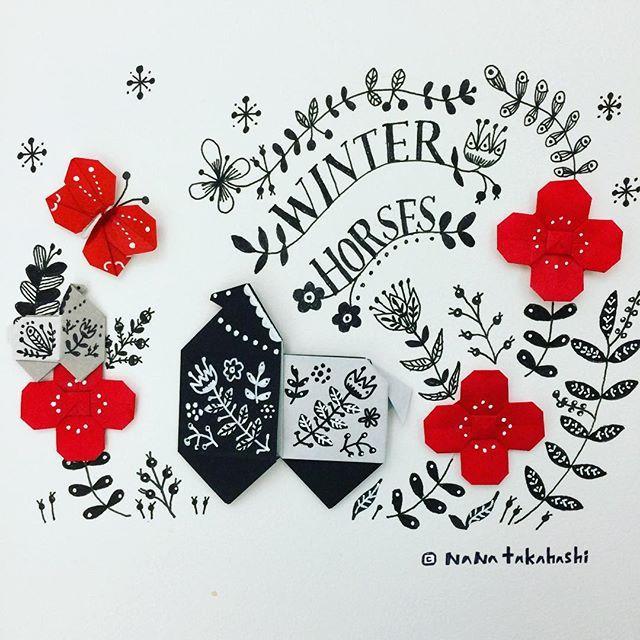 winter horses  パカパカ #origami  #illustration  #papercraft  #folkart #horse #nanatakahashi  #おりがみ  #イラスト #フォークアート #馬  #赤と黒 #ちょっとバランスわるい #たかはしなな