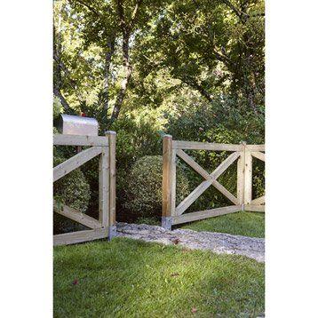 Barrière bois Cadre marron, H90 x l180 cm maison Pinterest