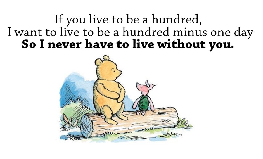~wood mounted stamp Winnie the Pooh saying POOH QUOTE~If you live to be a hundred I want to live to be a hundred minus one day.. 23-03