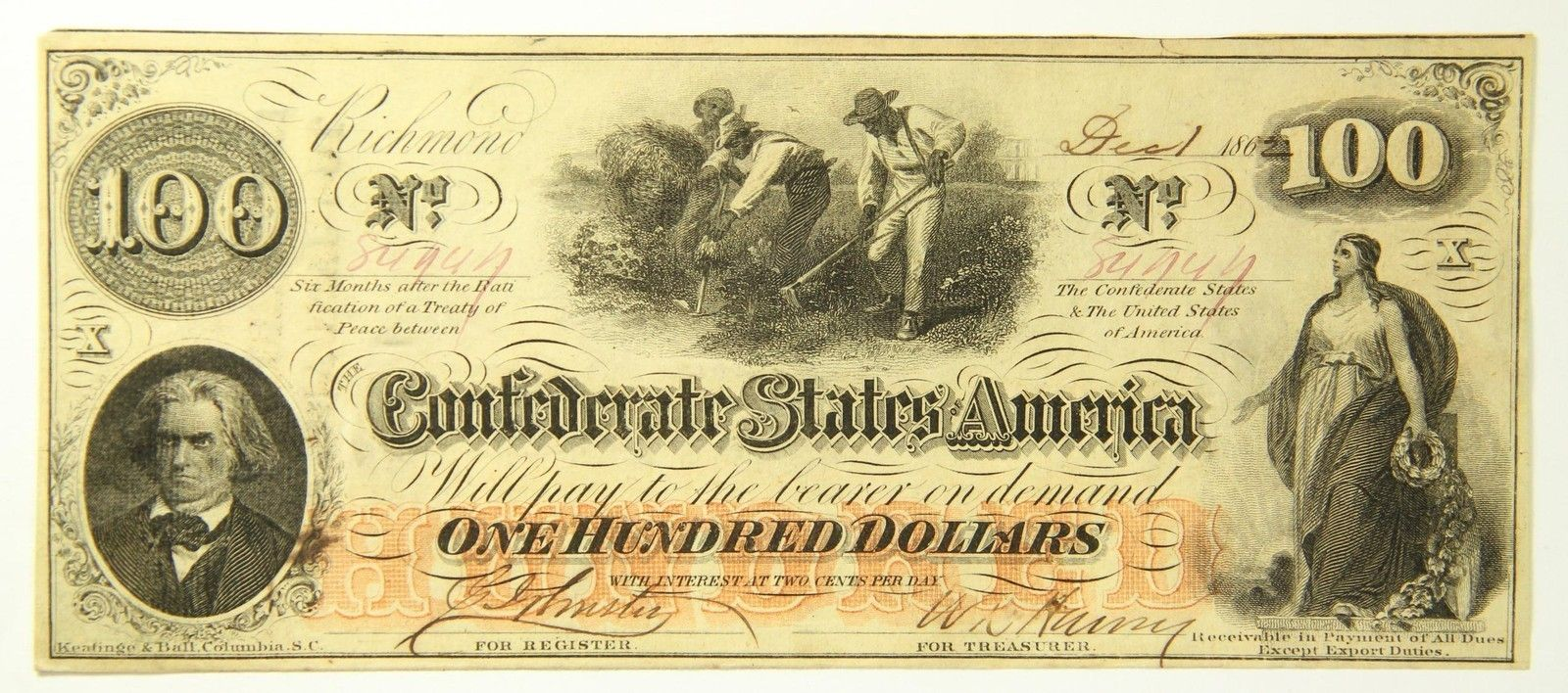 Details About 1862 Confederate States 100 Dollar Bill