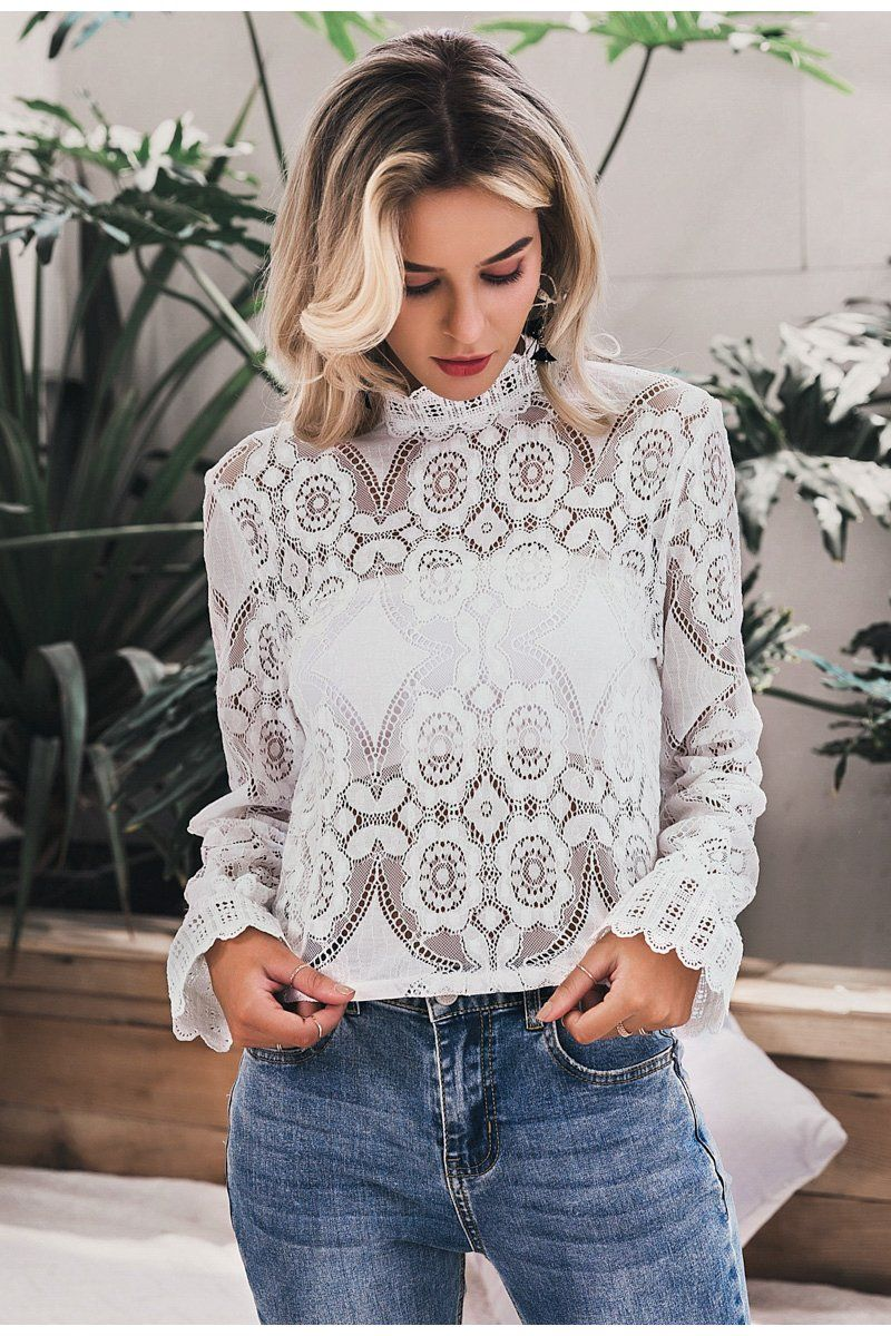 Hollow Out Embroidery Lace Blouse