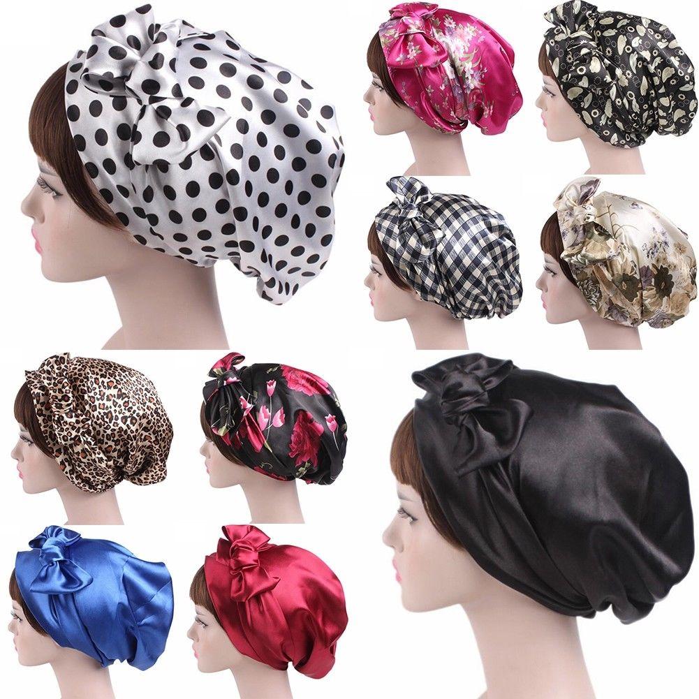 Silk Night Sleep Cap Hair Bonnet Hat Cover Satin Turban Wear Head Wrap Bow Knot