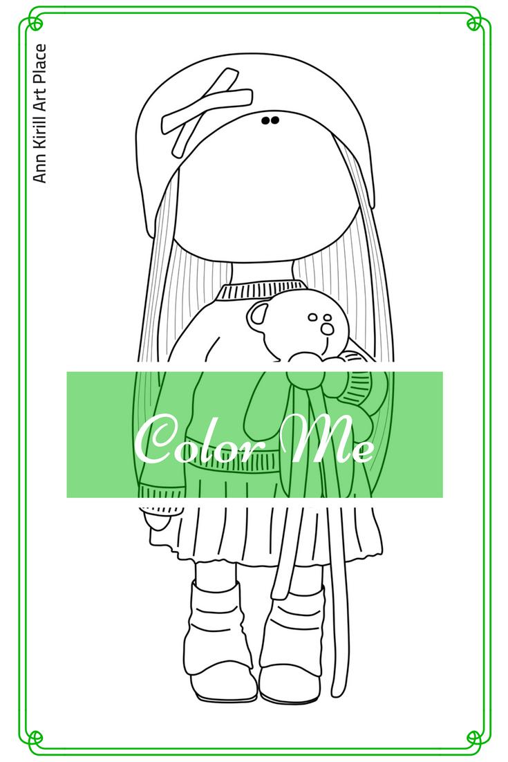 Big Head Doll Digital Stamp, Doll Coloring Page, Tilda Art Coloring ...
