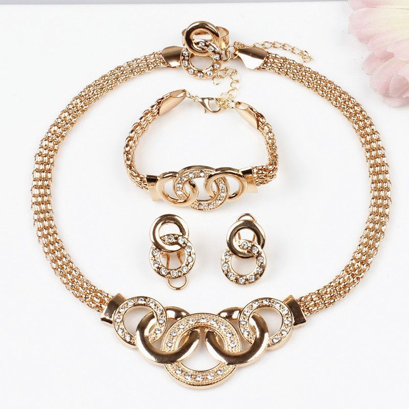 New Product Gold Round Pendant Necklace 18K Gold Plated Jewelry Sets For Women Fashion Jewelry Free Shipping Wholesale