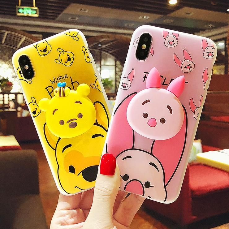 Kawaii winnie and bunny gasbag ring phone case for iphone
