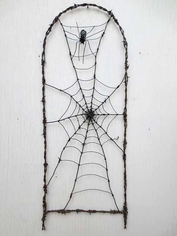 Spider In A Tattered Web Barbed Wire Garden Trellis Made to Order ...