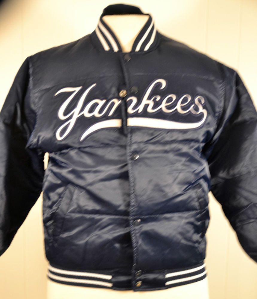 New York Yankees MLB Satin Starter Down Puffer Jacket Youth Medium Blue NY   Starter  NewYorkYankees 8dbd33a2395