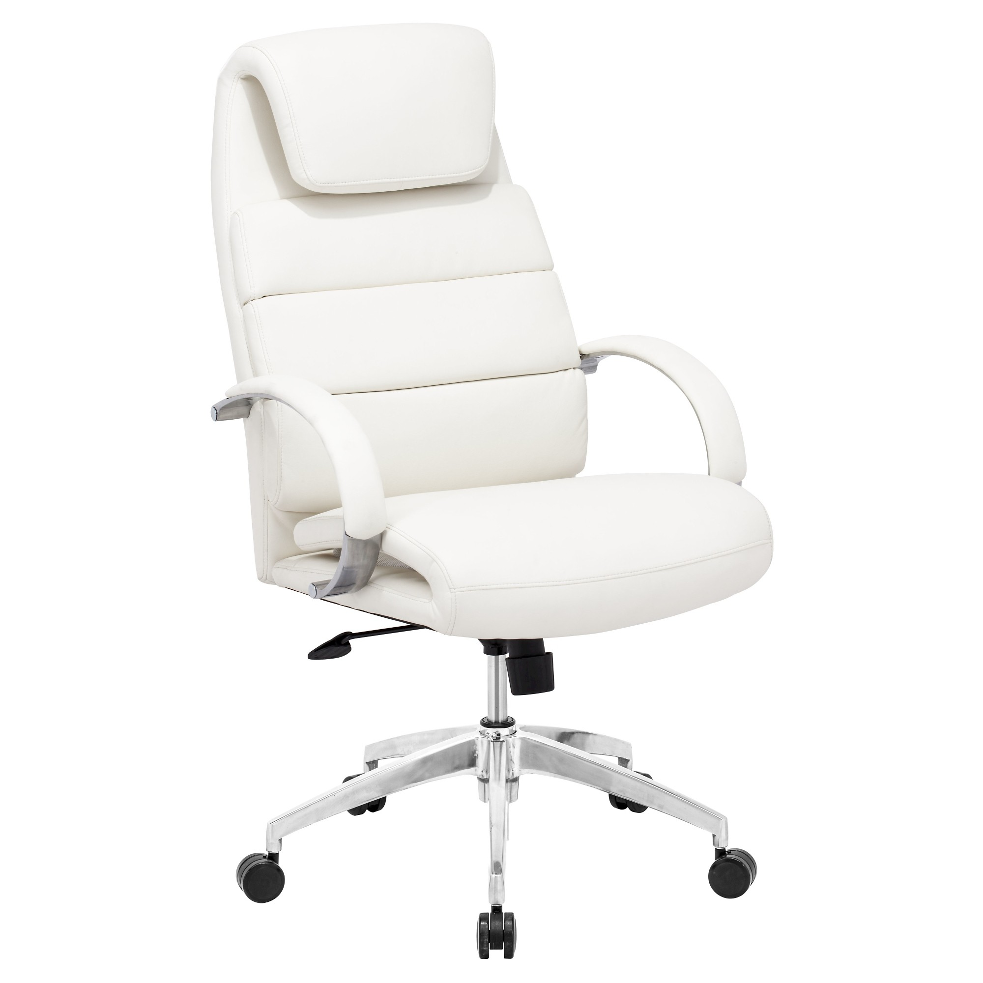 Adjustable upholstered ergonomic office chair white zm home