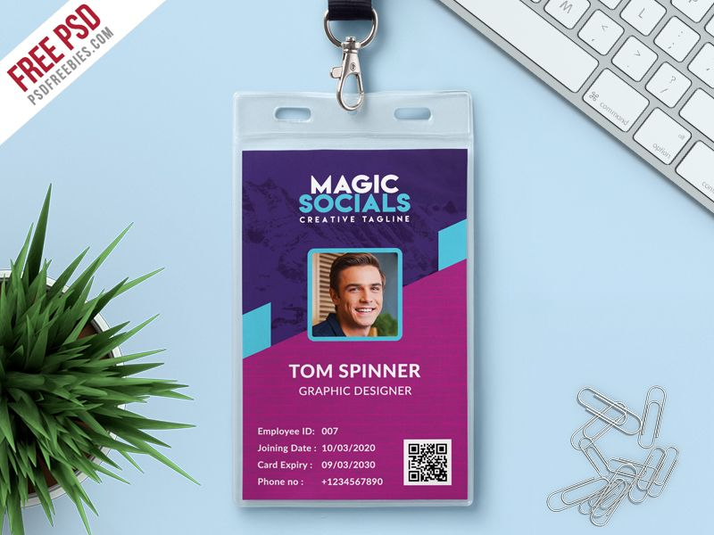 Office Identity Card Free PSD Adobe photoshop, Adobe and Print - id card psd template