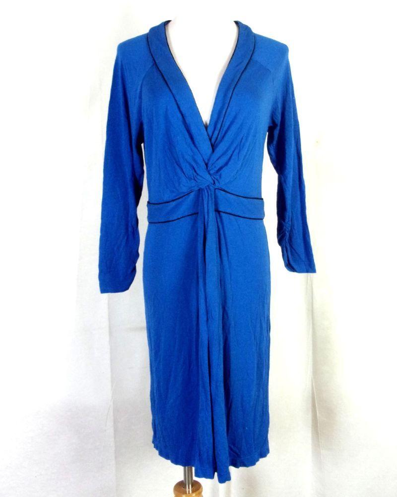 b32b25f0994 euc BCBGMaxazria Blue 95% Rayon 5% Spandex Summer Dress Mini sz L   BCBGMAXAZRIA