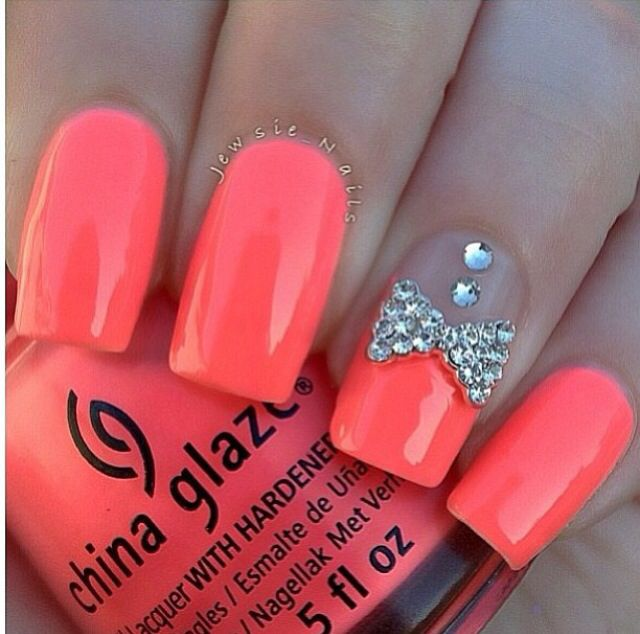 Pin by Jade Elizabeth✨ on Nails➰ | Pinterest | Coral nails, Accent ...