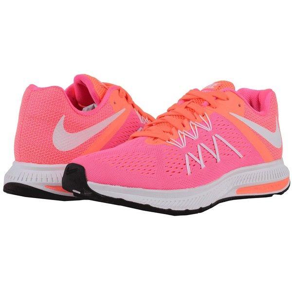 pretty nice 48c78 78843 Nike Zoom Winflo 3 (Pink Blast Bright Mango White) Women s Running... ( 90)  ❤ liked on Polyvore featuring shoes, athletic shoes, running shoes, nike,  pink ...