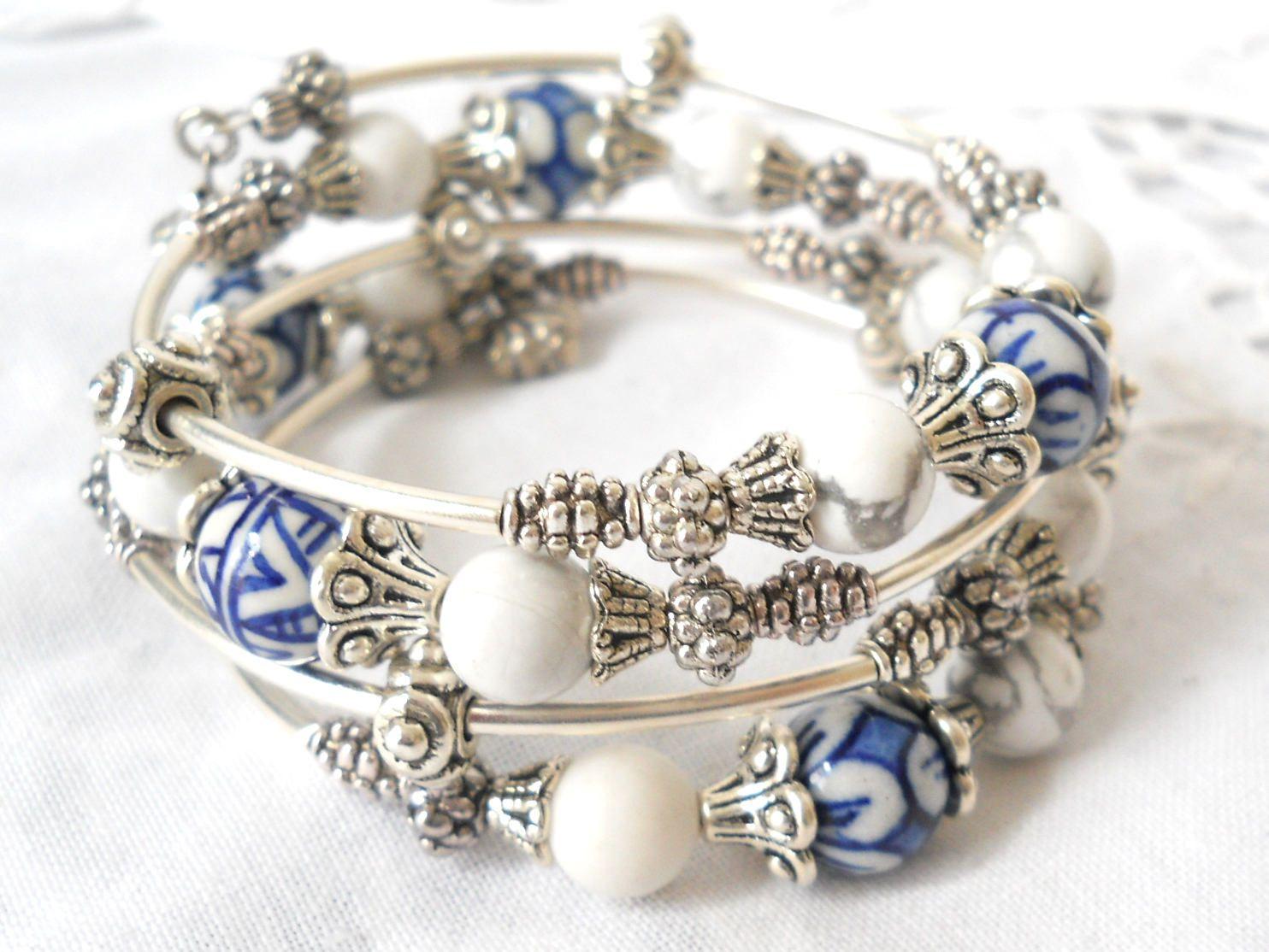 Delft blue memory wire bracelet delft blue jewelry delft bracelet ...