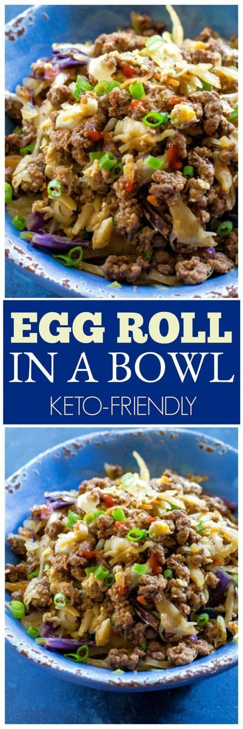 {KETO} Egg Roll in a Bowl + Video - The Girl Who Ate Everything