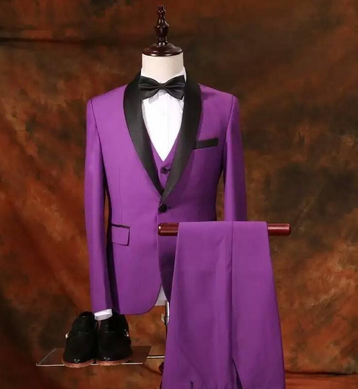 2017 Latest Coat Pant Designs Purple Groom Tuxedos Black Shawl Lapel ...