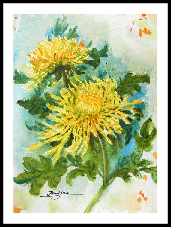 Original Water Color Painting Yellow Chrysanthemum Flowers With Mat 10 Quot X8 Quot 150222 Chrysanthemum Flower Watercolor Paintings Watercolor