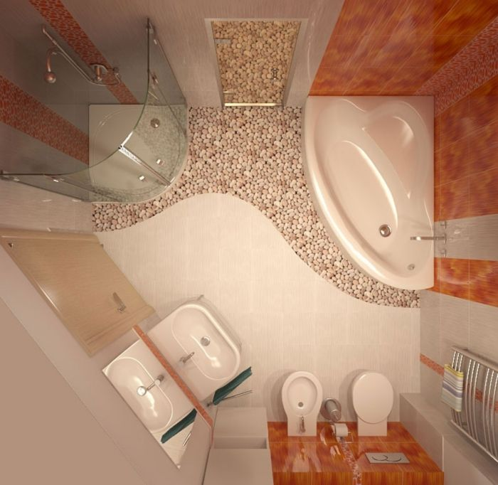 Einfarbiges Fliesendesign In Creme Und Orange Und Bodenfliesen Mit Kiesoptik