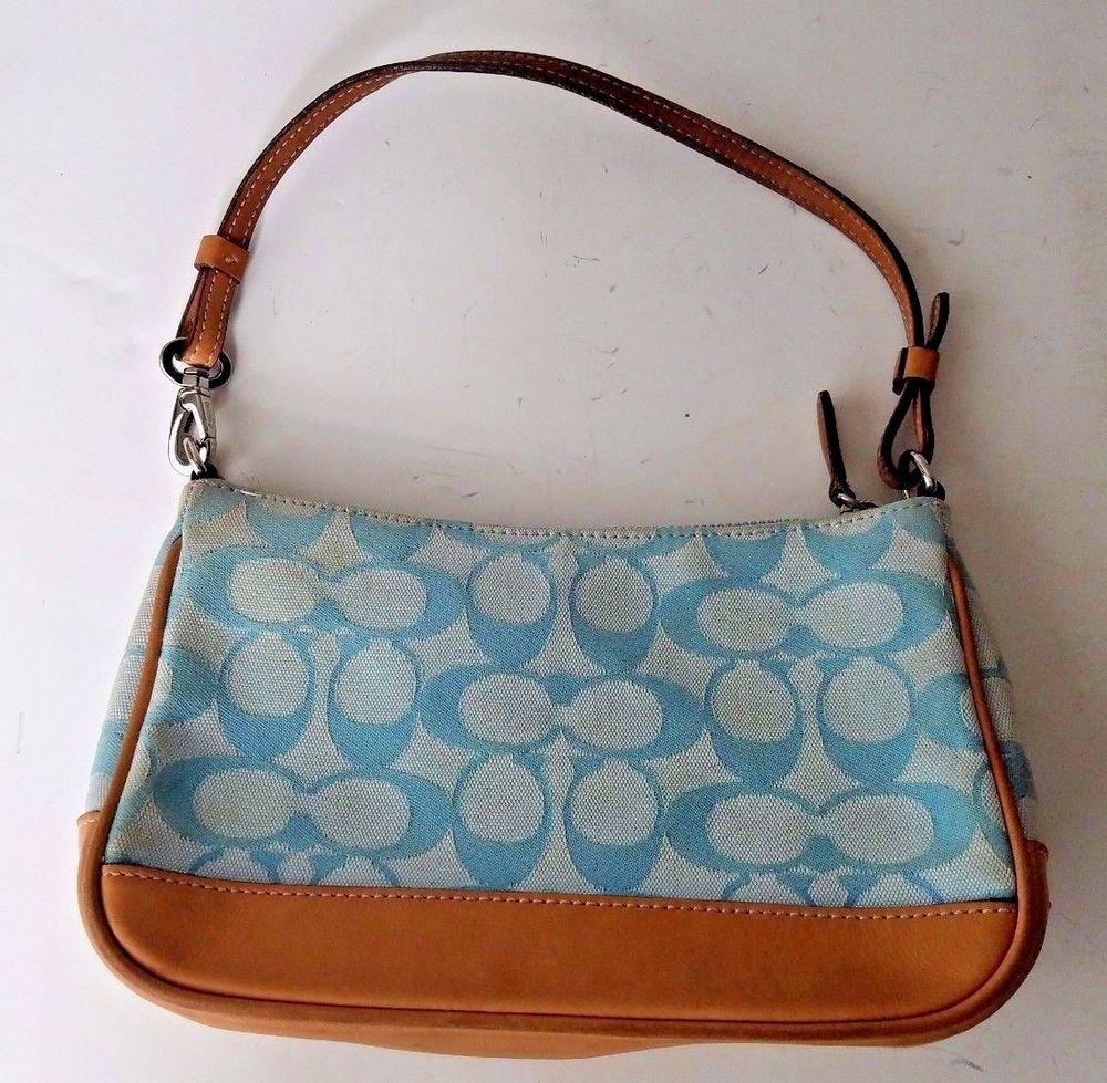 8bf01371da9 ... huge discount b4820 daefd Coach Handbag C Signature Small Blue Jacquard  Tan Leather Shoulder Purse Coach ...