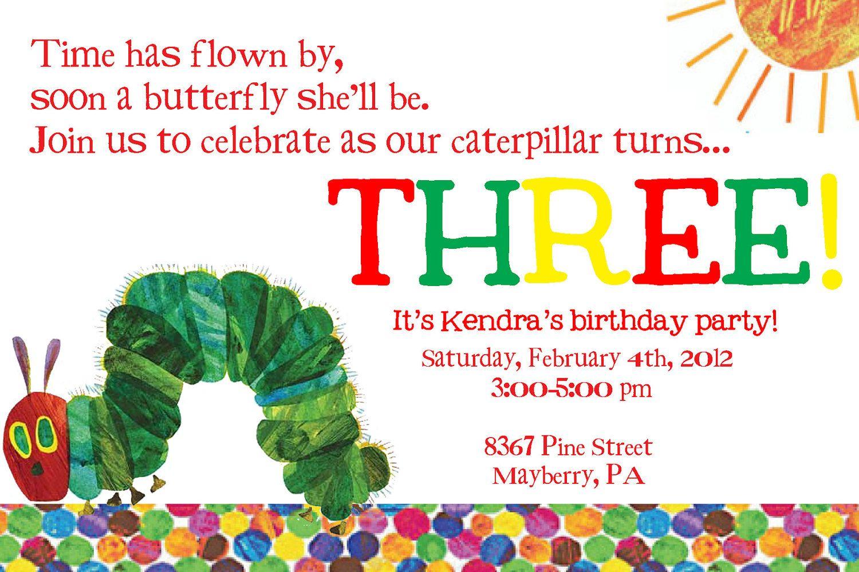 Very Hungry Caterpillar Third Birthday Invitation. $3.3, via