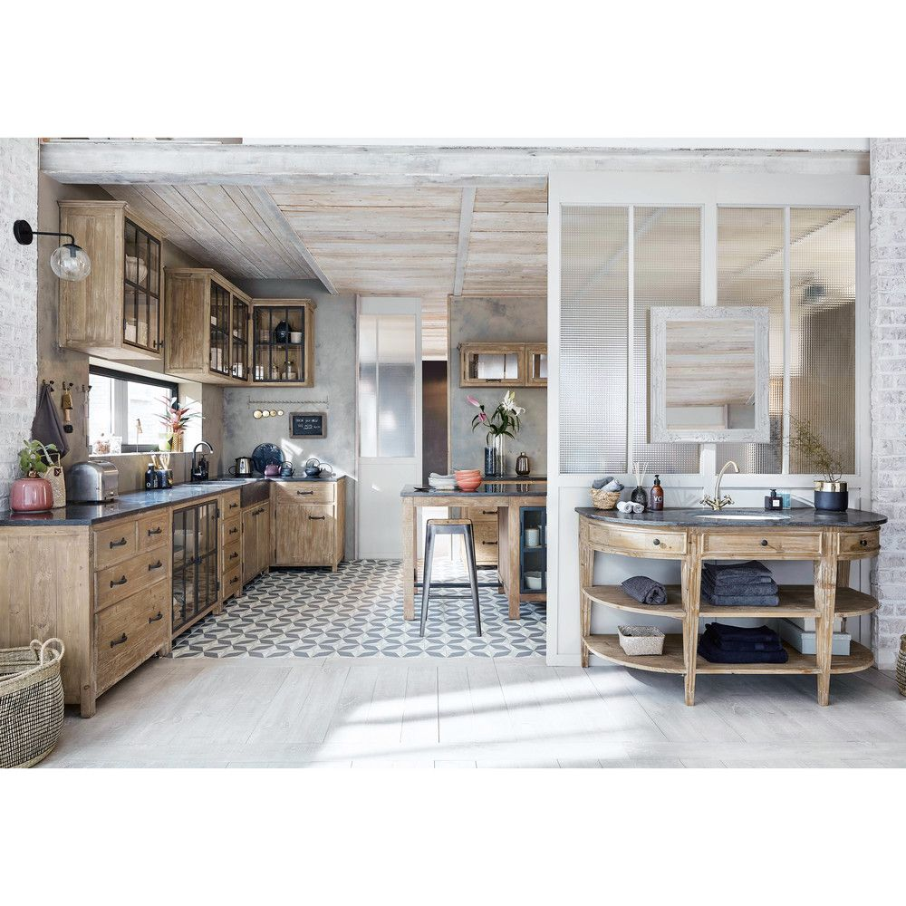 Light Pine Kitchen Cabinets: Îlot Central Cuisine En Pin Recyclé Et Pierre Bleue