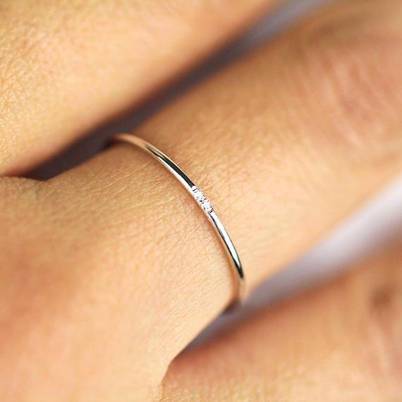 Photo of Minimalist Wedding Band, Diamond Wedding Ring, Diamond Wedding Band, Diamond Engagement Band, 1.2mm Full Round Wedding Band, Engagement Ring