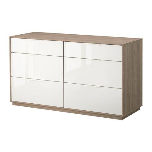 Nyvoll Kommode Mit 6 Schubladen Hellgrau Weiss Ikea Home