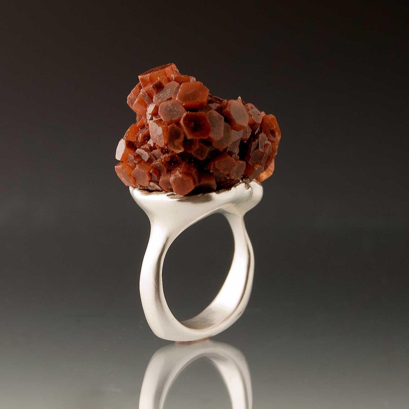Aragonite Crystal Cluster Sterling Silver Ring Raw Gemstone Ring $175.00 #rings