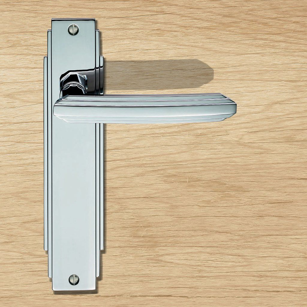 Art deco adr lever latch door handles on backplate all things