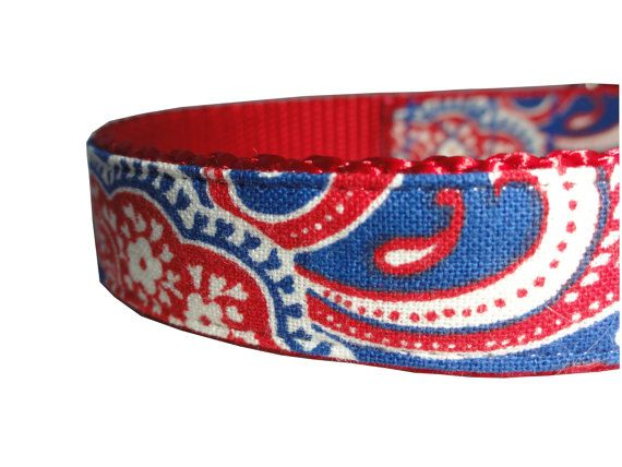 Red White and Blue Patriotic Adjustable Dog Collar $14.50 USD