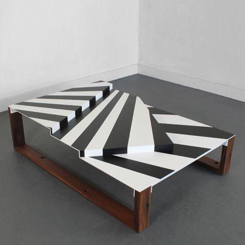 uhuru  - war craft coffee table geo-graphic black and white stripes