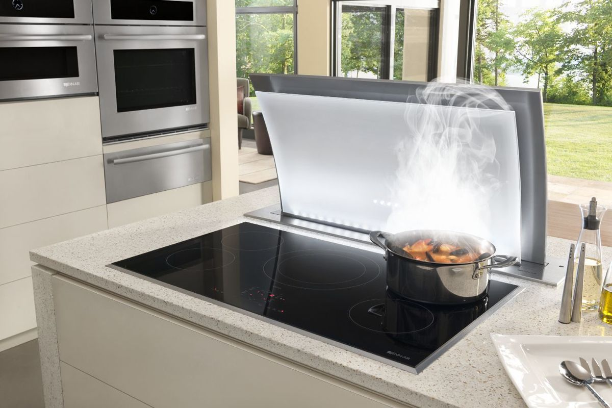 Kitchen Ventilation System Folding Table Jenn Airs 36 Induction Cooktop Paired With A Downdraft