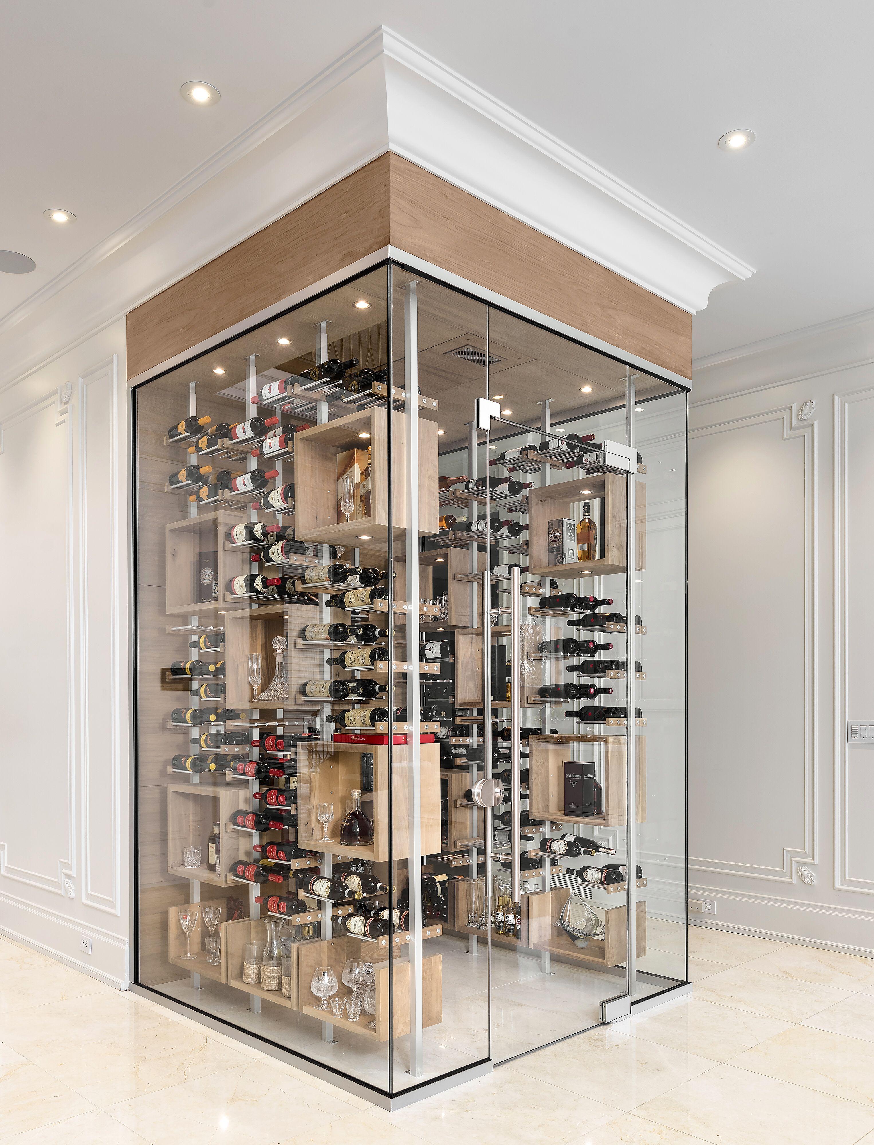 Aluminum Natural Walnut Frameless Glass Door Frameless Glass