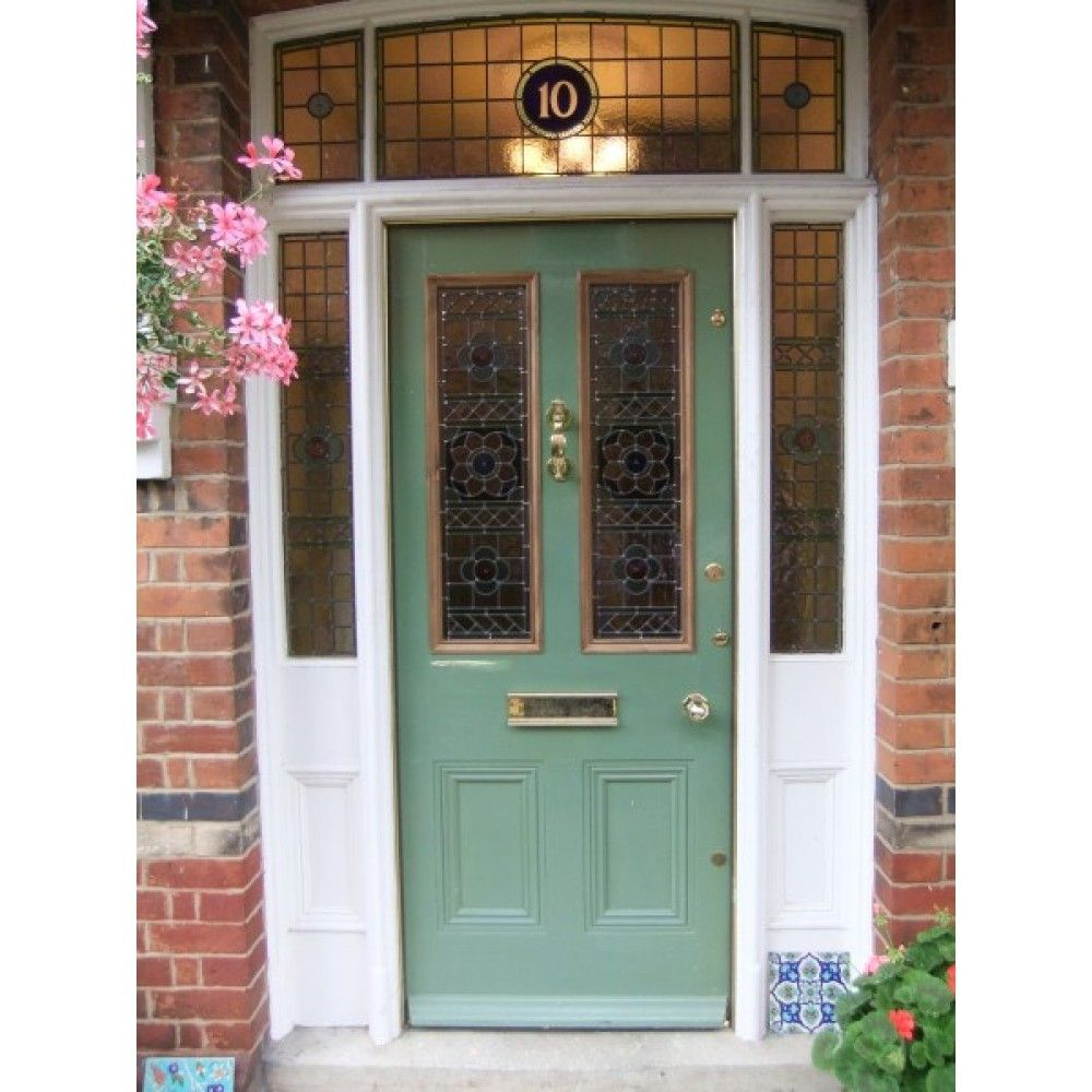 Overhead And Side Panels With Door Pinks Blues Greens And