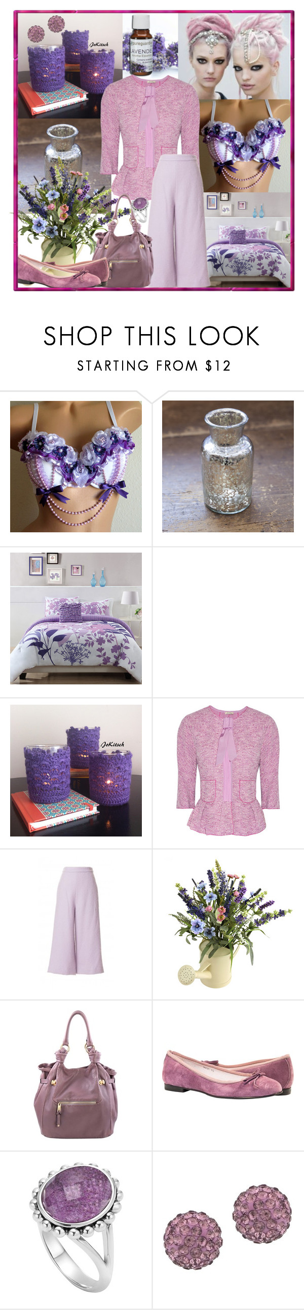 """Lavender Monochrome"" by fantasiegirl ❤ liked on Polyvore featuring jcp, Aroma, Nina Ricci, Nearly Natural, Marc Jacobs and Lord & Taylor"